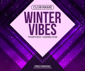 Winter vibes flyer vector