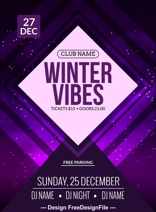 Winter vibes flyer vector