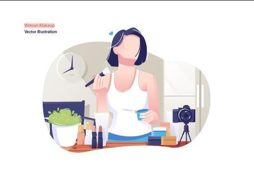 Woman makeup vector illustration