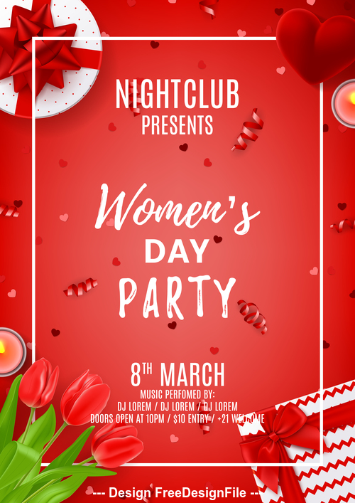 Womens day flyer vector