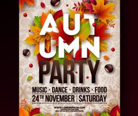 Wooden background autumn party flyer template vector