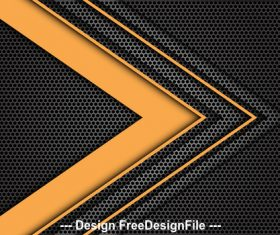 Yellow arrow gray honeycomb mesh background vector
