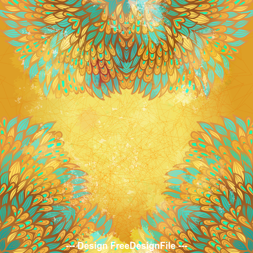 Yellow background hand drawn ethnic floral vector