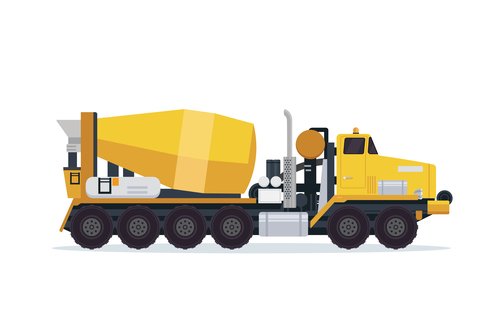 Yellow construction mixer truck cartoon vector