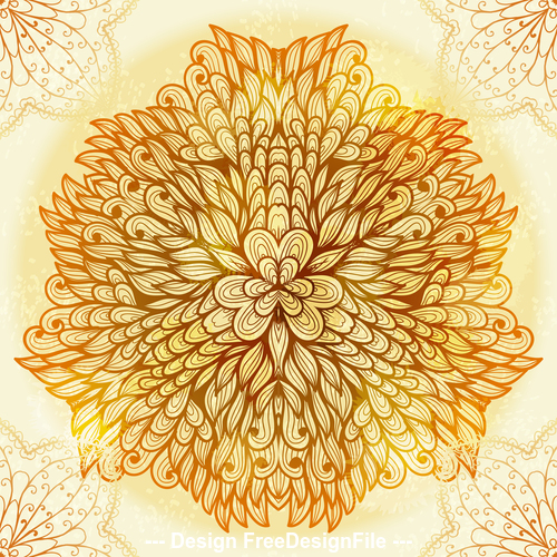 beige hand drawn ethnic floral vector