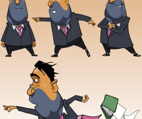 cartoon businessman in a suit in different poses vector
