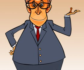 cartoon character big-bellied man in a suit and tie and glasses vector