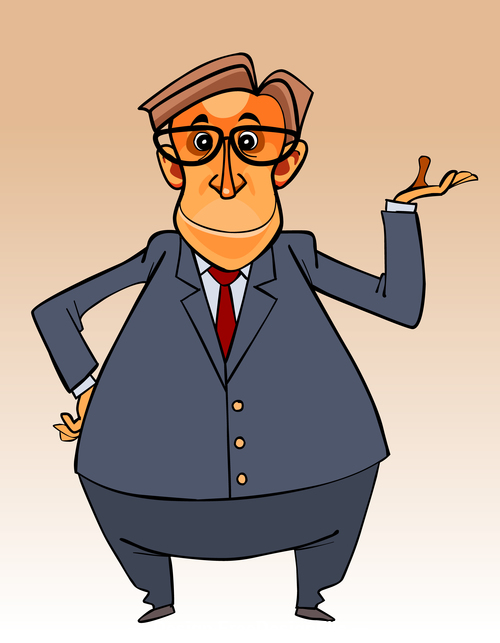 cartoon character big bellied man in a suit and tie and glasses vector