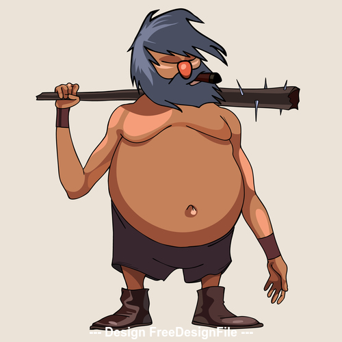 cartoon character big bellied man with a cudgel vector
