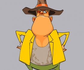 cartoon funny man sheriff in a hat standing arms akimbo vector