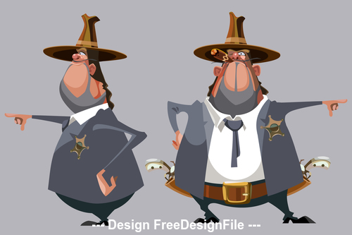 cartoon man sheriff in a hat stands in front and side vector