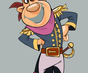 cartoon smiling man in clothes of pirate with saber vector