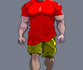 cartoon tense man bodybuilder goes vector