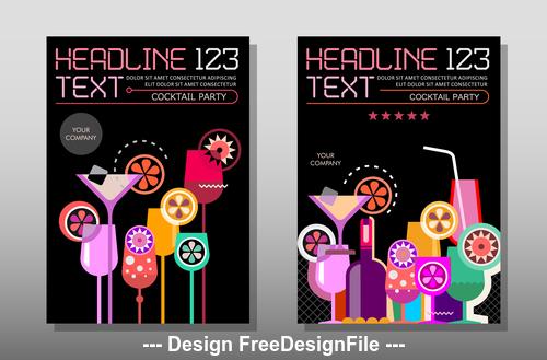 cocktail glasses magazine template variants vector