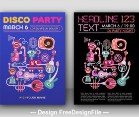 disco party poster template vector