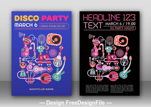disco party poster template vector