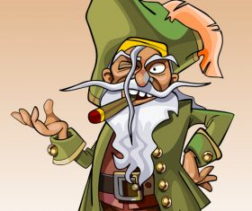 dwarf cartoon character pirate with a cigar in his mouth vector