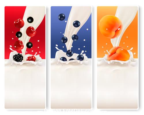 fruits splash in milk vector