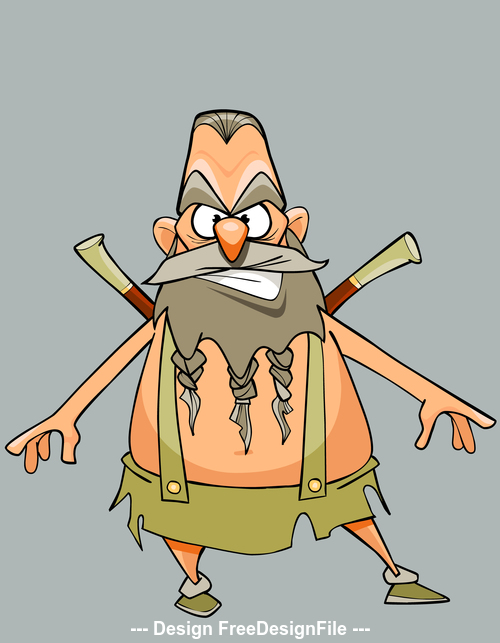 funny cartoon character austere man warrior with a beard and mustache vector