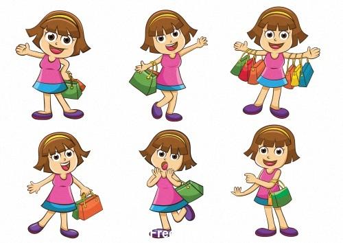 girl shopping vector
