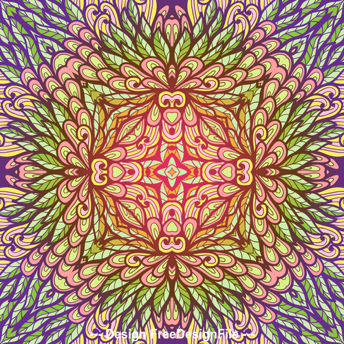 hand drawn ethnic color floral vector