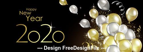 happy new year 2020 decorative balloons vector