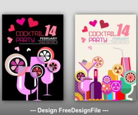 valentines day cocktail party posters vector