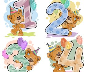 1234 and teddy bear cartoon vector