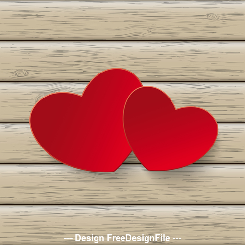 2 Red Hearts Wood vector