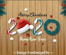 2020 Christmas background and pine branches decorative vector