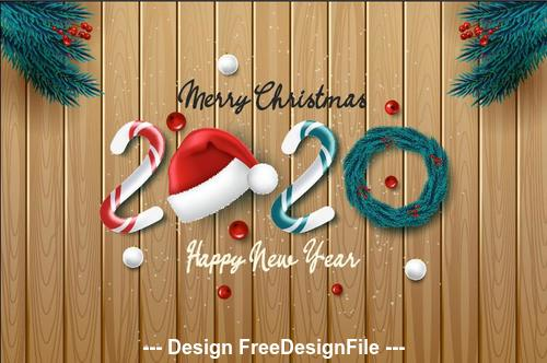 2020 Christmas background and pine branches decorative vector free