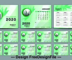 2020 green plant background calendar vector