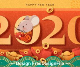 2020 paper-cut rat new year vector