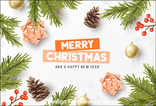 2020 pine branch pine cone berry background christmas greeting card vector