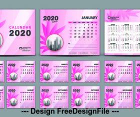 2020 pink background calendar vector