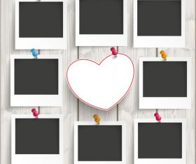 8 Instant Photo Frames Heart Wood vector