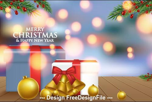 Abstract background christmas new year gift box vector