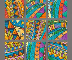 Abstract colorful intricate patterns vector