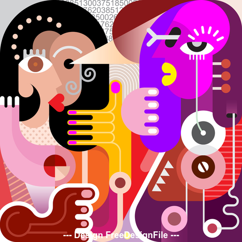 Abstract two women vector