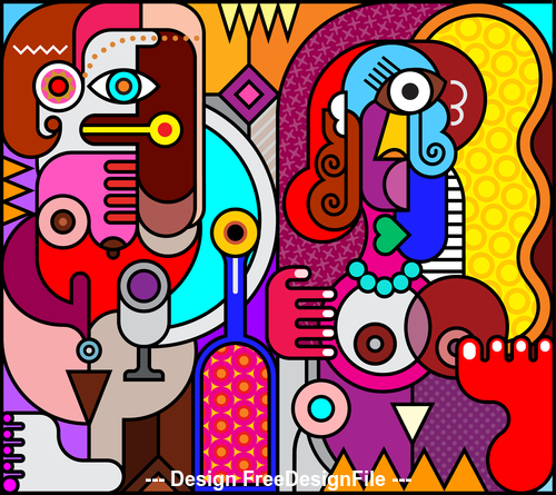Abstract two women with wine wottle stained glass vector