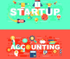Accounting concept flat banner vector