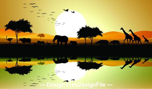 African animals grassland silhouette vector