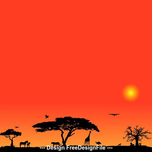 African beautiful grassland vector