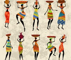 African character silhouette vector