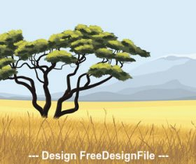 African steppe tree vector