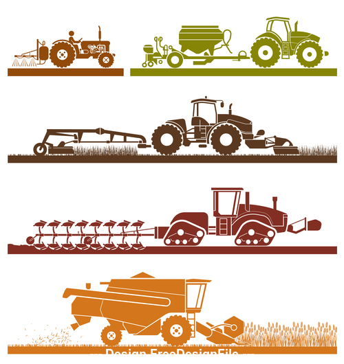 Agricultural vehicle silhouette vector