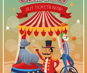 Animal and clown show poster vector