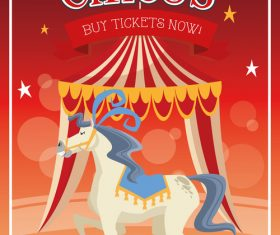 Animal and tent circus poster vector
