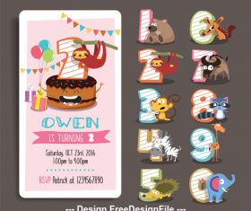 Animal cartoon birthday card vector