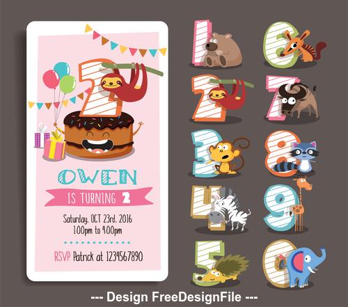 Animal cartoon birthday card vector
